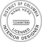 District Of Columbia Licensed Interior Designer Seal 3495