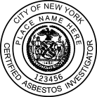 New york certified asbestor investigator seal for New york state architect stamp
